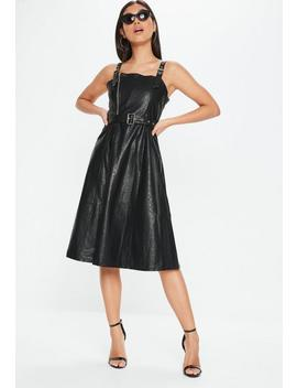 Black Faux Leather Belted Dress by Missguided