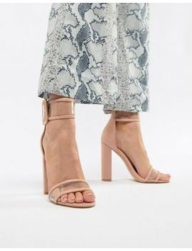 Public Desire Mission Dusty Pink Clear Strap Block Heeled Sandals by Public Desire