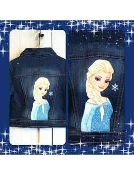 Custom Disney Clothing Painted Frozen Princess Choice Of 1 Character, Elsa, Anna Or Olaf On A Jean Jacket  12 M To 12 Teen by Etsy