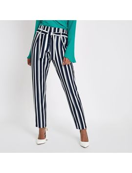 Navy Stripe Tie Waist Tapered Trousers by River Island