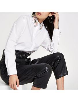 White Floral Embellished Collar Shirt by River Island