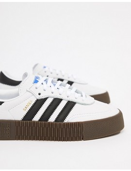 Adidas Originals Samba Rose Sneakers In White With Dark Gum Sole by Adidas