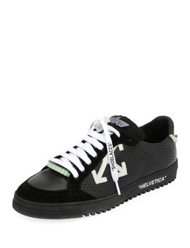 Men's 2.0 Perforated Leather & Suede Low Top Sneakers, Black by Off White