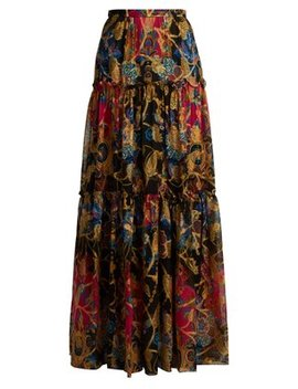 Eastern Print Silk Blend Skirt by Etro