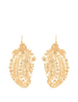 Crystal Embellished Laser Cut Paisley Earrings by Etro