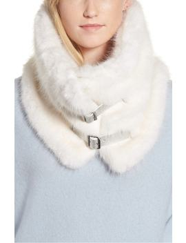 Buckled Faux Fur Cowl Scarf by Heurueh