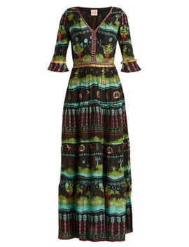Anita Eden Print V Neck Silk Dress by Le Sirenuse, Positano