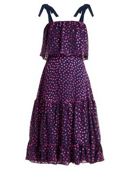 Jessie Polka Dot Devoré Silk Blend Dress by Saloni