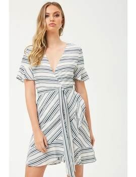 Striped Ruffle Trim Dress by Forever 21