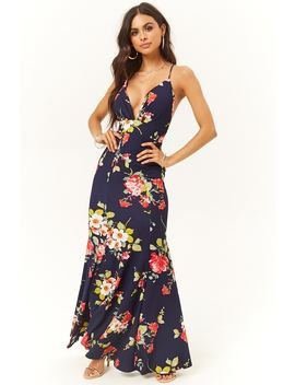 Garden Floral Print Mermaid Dress by Forever 21