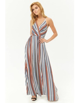 Crepe Striped Surplice Maxi Dress by Forever 21