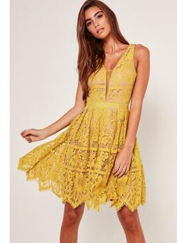 Midi Lace Skater Dress Yellow by Missguided