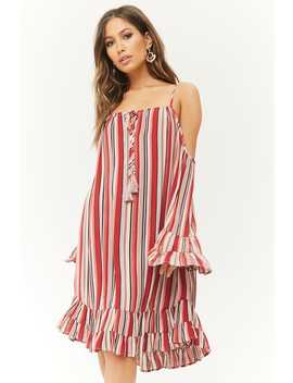 Striped Open Shoulder Ruffle Dress by Forever 21