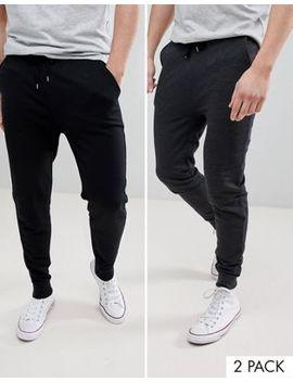 Asos Design Skinny Joggers 2 Pack Black/Charcoal by Asos Design