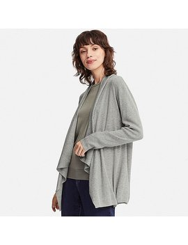Women Ribbed Drape Long Sleeve Cardigan by Uniqlo