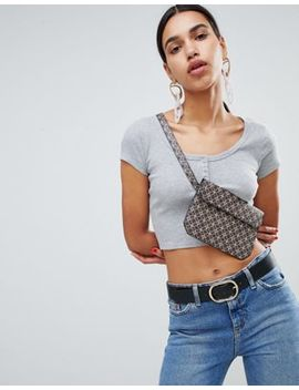 Asos Design Short Sleeve Crop Top With Button Front In Grey Marl by Asos Design