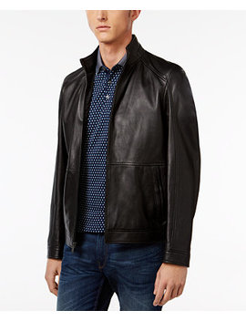 Men's Leather Racer Jacket by Michael Kors