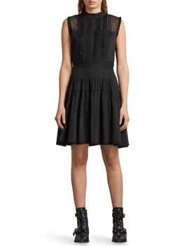 Myra Dot Pintuck Dress by Allsaints