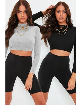Petite Black 2 Pack High Neck Long Sleeve Crop Top by Missguided