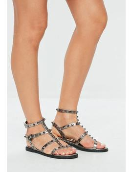 Gray Dome Stud Gladiator Sandals by Missguided