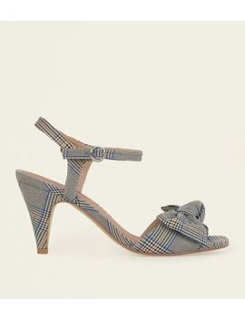 Wide Fit Grey Check Bow Cone Heel Sandals by New Look
