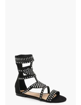 Embellished Stud Gladiator Sandals by Boohoo