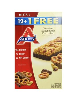 Atkins Chocolate Peanut Butter Pretzel Bar, Pack Of 13, 1.7 Ounce Bars by Atkins