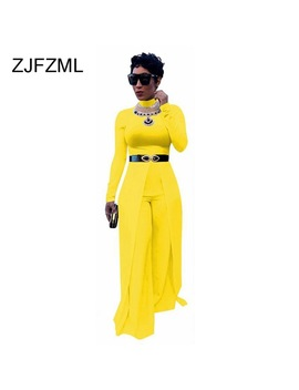 Zjfzml 2018 New Fashion Solid Color Jumpsuits O Neck Sashes Sexy Bodycon Rompers Long Sleeve Wide Leg Causal Overalls  by Zjfzml Zz