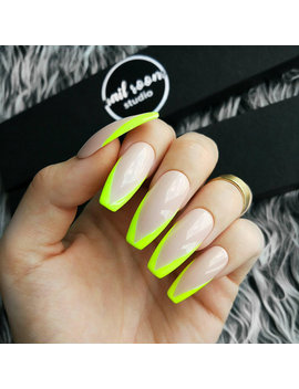 Yellow Fluo French Nude Press On Nails | Green Fluo | Wicca False Glue On Nails | Glossy And Long Pop On | Coffin Stiletto Ballerina by Etsy