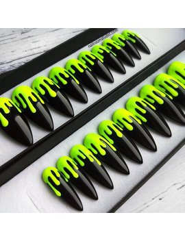 Neon Yellow Matte Dripping Press On Nails | Fluo Green And Glossy Shiny Black | Stiletto Coffin Square Almond Oval Ballerina | Long Medium by Etsy