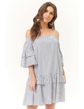 Pinstriped Off The Shoulder Dress by Forever 21