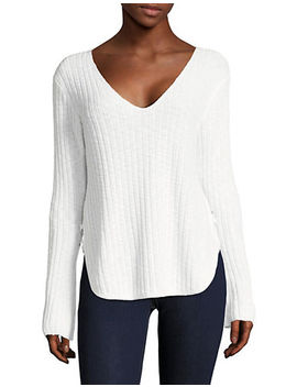 Long Sleeve Criss Cross V Neck by Dex