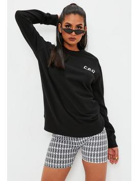 Black Ceo Oversized Sweatshirt by Missguided