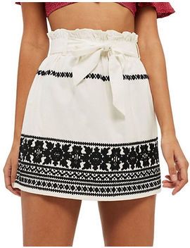 Embroidered Paper Bag Skirt by Topshop