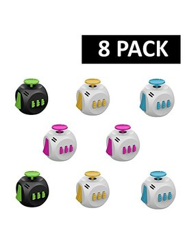 Fidget Cube (8 Pack)   In 8 Individual Boxes   Great Birthday Party Favors For Kids   Four Color Assortment   Fidget Toys For Kids & Adults   Relieves Boredom, Stress & Anxiety by E Xuby