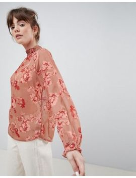 Ichi Floral High Neck Blouse by Top