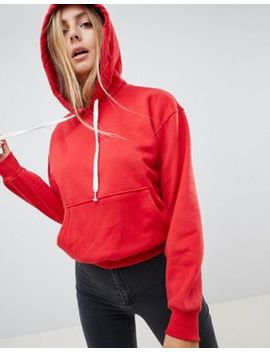 Bershka Basic Hooded Sweater In Red by Bershka