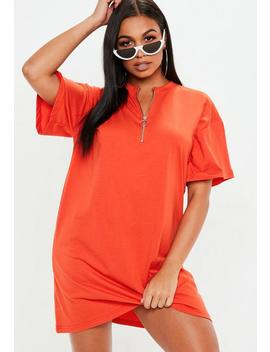 Orange Oversized Zip Front T Shirt Dress by Missguided