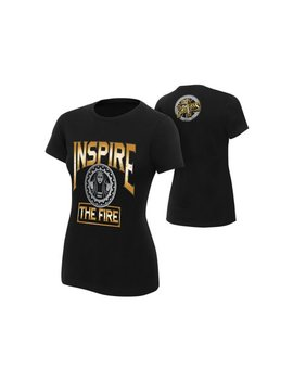 """Official Wwe Authentic Becky Lynch """"Inspire The Fire"""" Women's  T Shirt Black by Wwe"""
