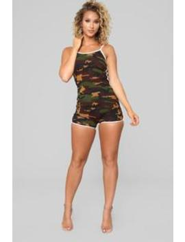 Easy As Can Be Lounge Romper   Olive by Fashion Nova