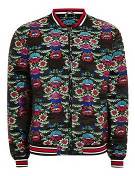 Black Floral Jacquard Bomber Jacket With Embroidery by Topman