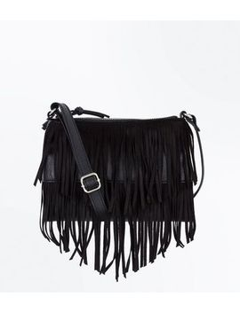 Black Fringe Cross Body Bag by New Look