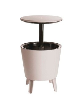 Cool Bar Round Patio Accent Table   White   Keter by Keter