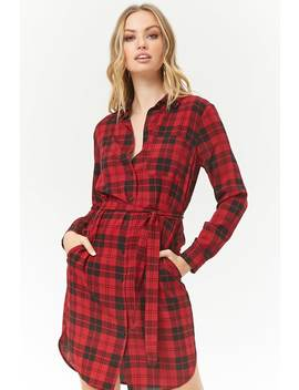 Plaid Dolphin Hem Shirt Dress by Forever 21