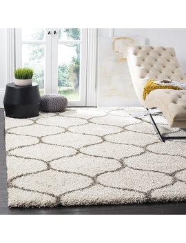 Safavieh Hudson Shag Collection Sgh280 A Ivory And Grey Moroccan Ogee Plush Area Rug (8' X 10') by Safavieh