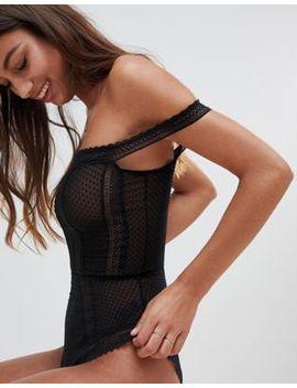 Asos Design Willow Spot & Lace Trim Bardot Bodysuit by Asos Design