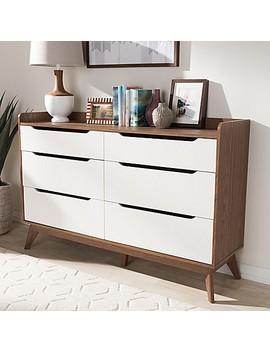 Baxton Studio Brighton 6 Drawer Dresser In White/Walnut by Bed Bath And Beyond