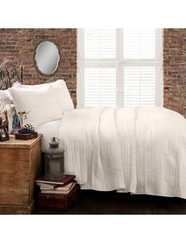 White Pom Pom Stripe Quilt Set   Lush Decor by Lush Decor