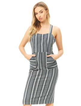 Stripe Embroidered Midi Dress by Forever 21