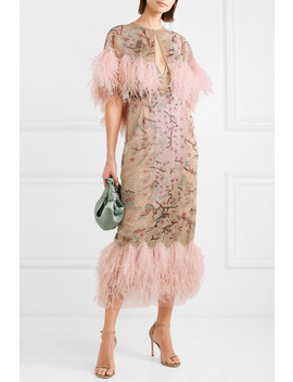 Feather Trimmed Beaded Tulle Cape by Marchesa
